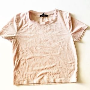 Forever 21 cropped ribbed top small pink velvety